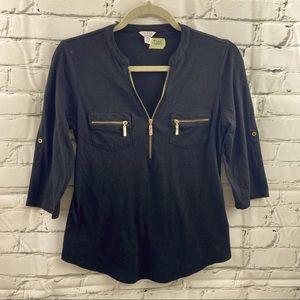 Guess 3/4 sleeve shirt with gold zipper detailing